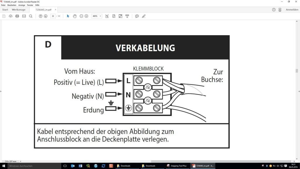 Anschluß eines Deckenventilators mit Licht und Dimmfunktion