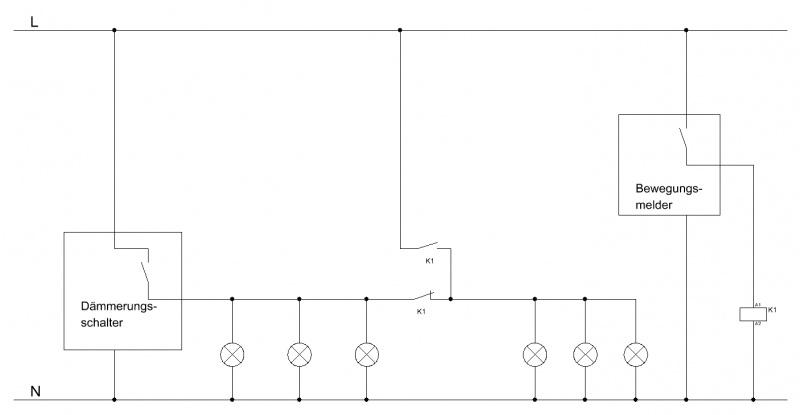 Dämmerungsschalter und Bewegungsmelder parallel
