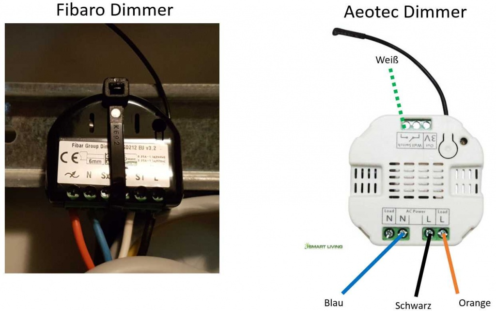 Verkabelung Fibaro vs. Aeotec Dimmer