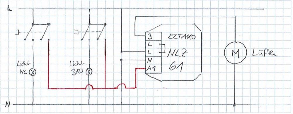 Sehr Nachlaufrelais (1 Ventilator - 2 Räume) EE02