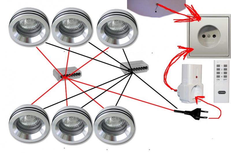 6 Halogenstrahler / Verkabelung inkl. Funkdimmer