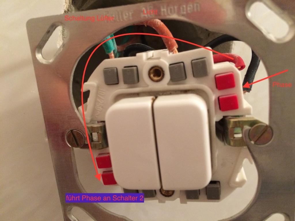 Licht/Lüfter Schalter (feller edizio mit LED)