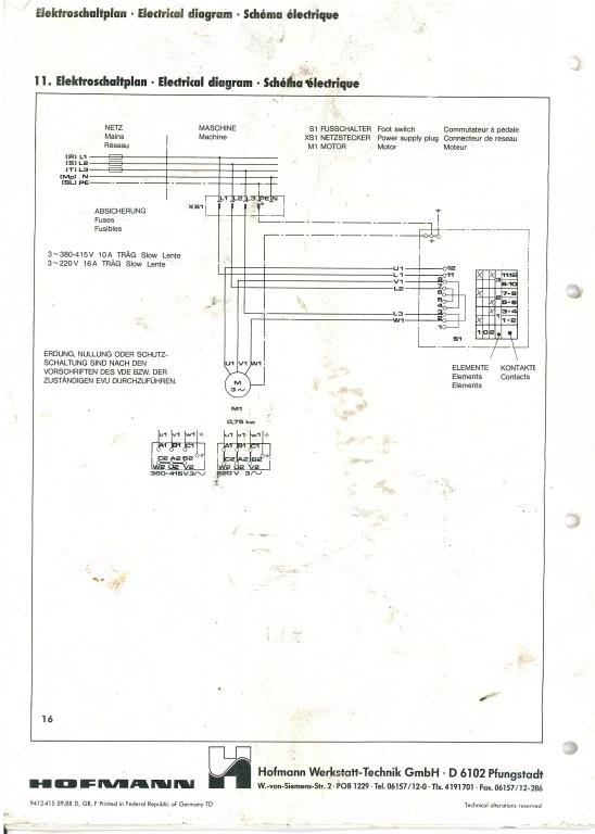 Montagemaschine von 380V auf 220V umbauen