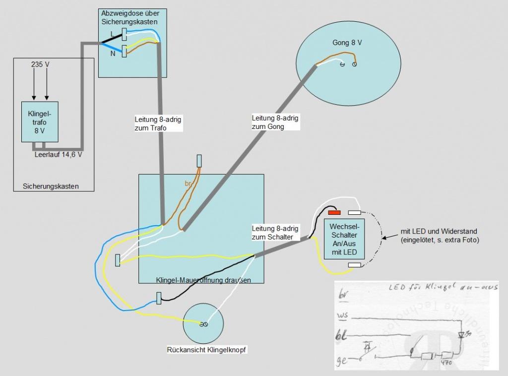 Anschlussplan Klingelanlage richtig? An/Aus-Schalter + LED